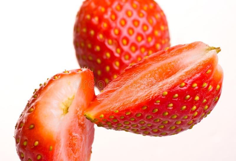Falling fresh strawberry royalty free stock photos