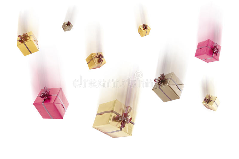 Falling gifts, isolated stock photo