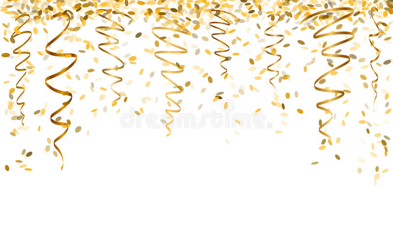 Falling gold confetti. Falling oval confetti and ribbons with gold color