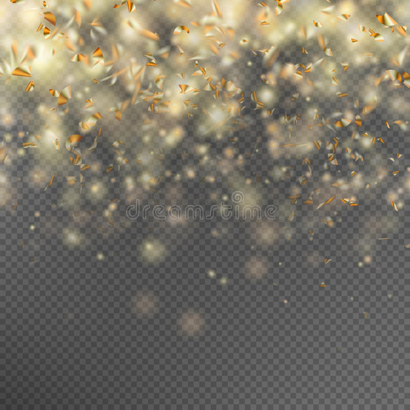 Falling gold glitter particles. EPS 10 royalty free illustration