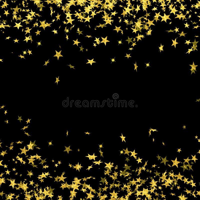 Falling gold stars on black background, falling stars, star rain, gold foil stars, holiday, night, gold, glitter, Christmas vector illustration