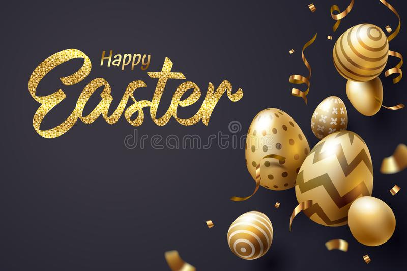 Falling Golden Easter egg and Happy Easter text celebrate stock photo