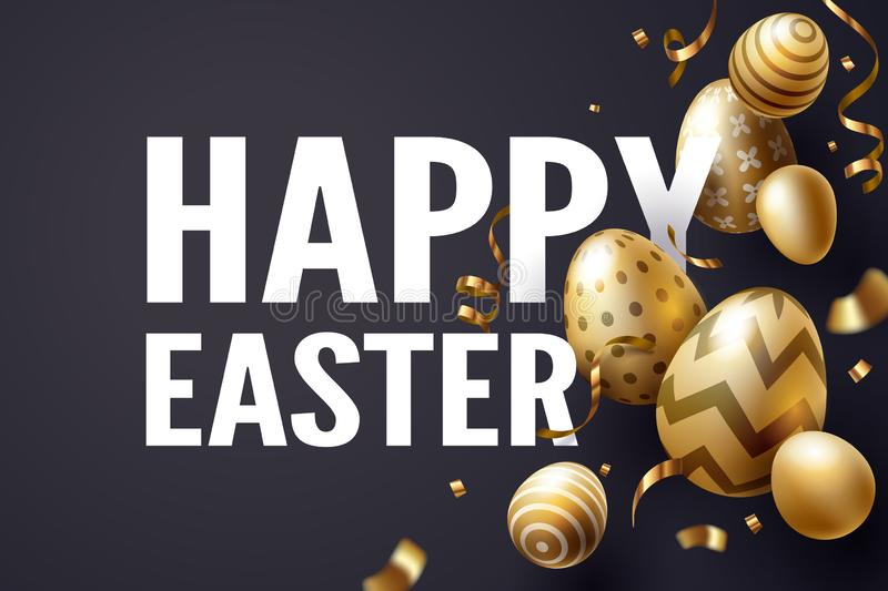 Falling Golden Easter egg and Happy Easter text celebrate stock image
