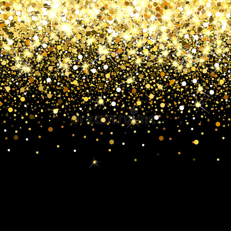 Falling golden particles on a black background. Scattered golden confetti. Rich luxury fashion backdrop. Bright shining. Falling golden particles on a black royalty free illustration