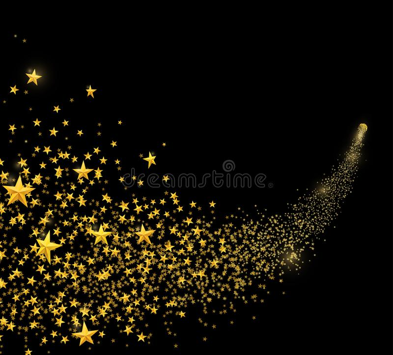 Falling golden stars, dust. Shooting star with rounded trail isolated on black. Background. Meteor, comet, asteroid. Vector illustration royalty free illustration