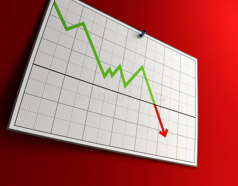Falling graph. 3d rendering of the falling graph