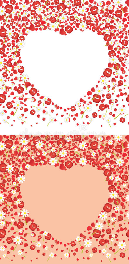 Free Falling Hearts, Kisses And Flowers Backgrounds. Vector Illustration Royalty Free Stock Images - 66189309