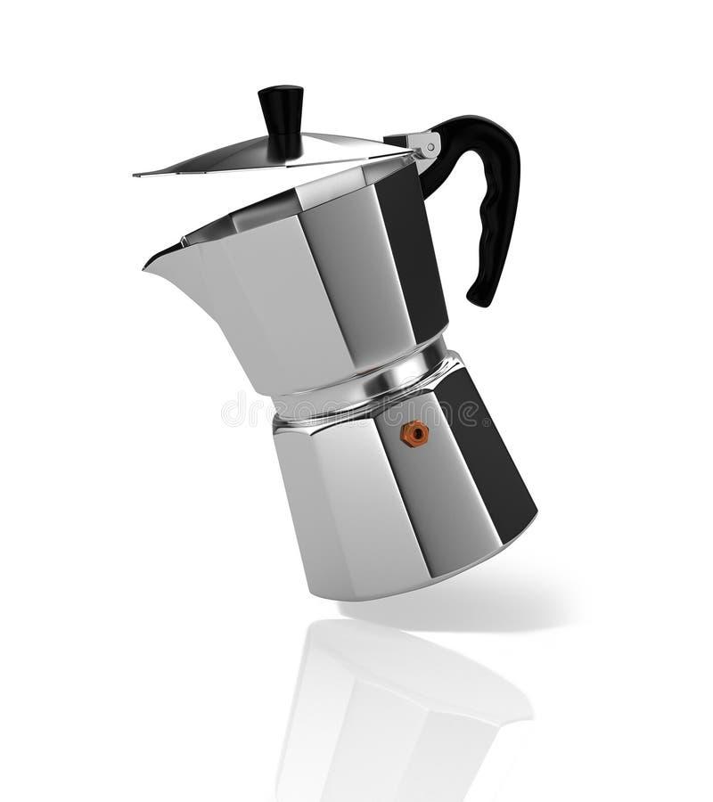 Falling Italian coffee maker. 3D Illustration vector illustration