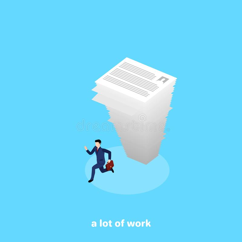 A falling large stack of paper on a runaway man in a business suit. An isometric image stock illustration
