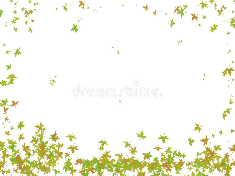 Falling leaves. Illustration of falling leaves over white background. Useful for greeting cards, postcards in theme with the autumn royalty free illustration
