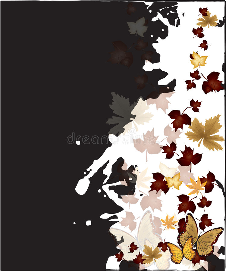 Falling Leaves Background. Falling Autumn leaves and butterfly background vector illustration royalty free illustration