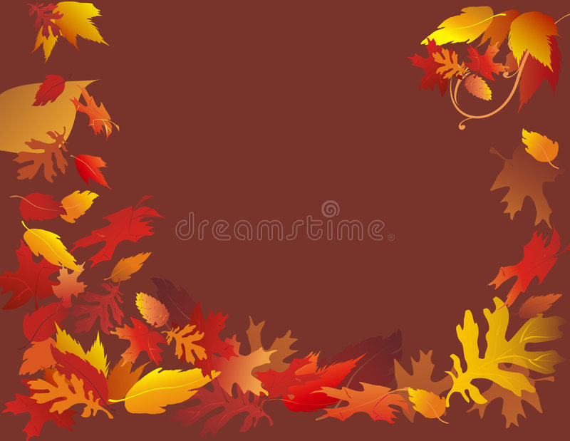 Falling Leaves on Brown. Festive fall foliage frame illustrated on solid brown background