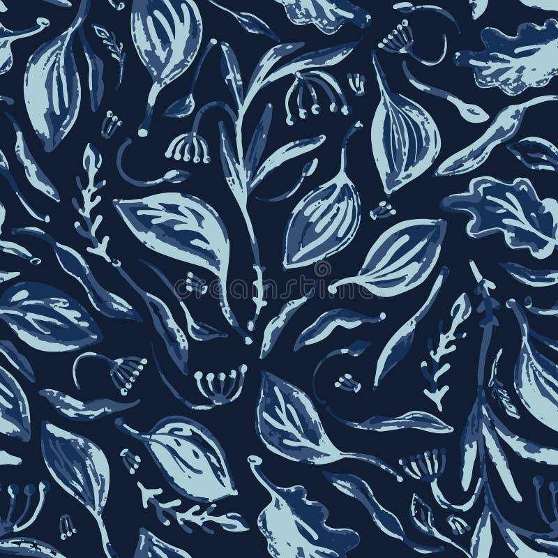 Falling Leaves Indigo Pattern Seamless Vector Faded Denim Blue Batik royalty free illustration