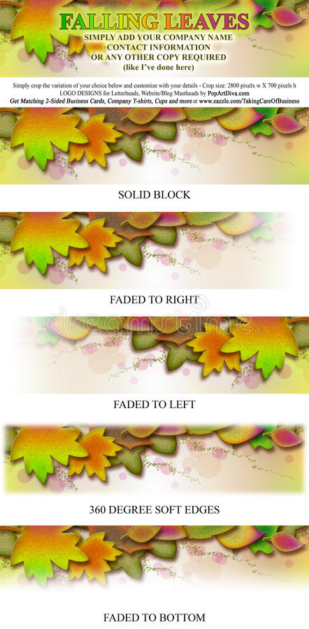 Falling Leaves Logo Masthead Banner. Falling Leaves is a fall season inspired abstract nature design in the luscious shades of Indian Summer. Autumnal leaves in vector illustration