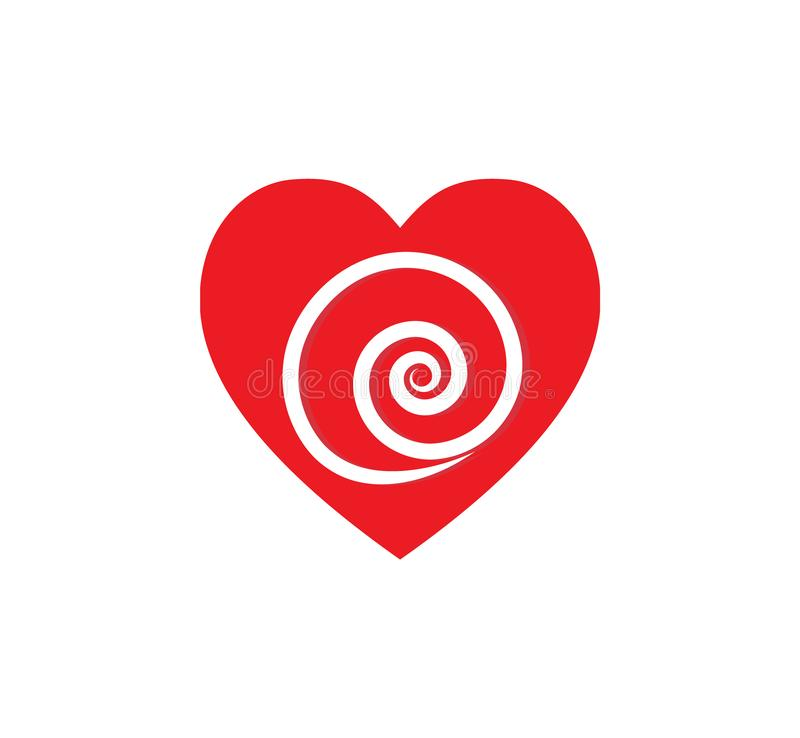 Falling in love. Red heart with twirl inside. stock image