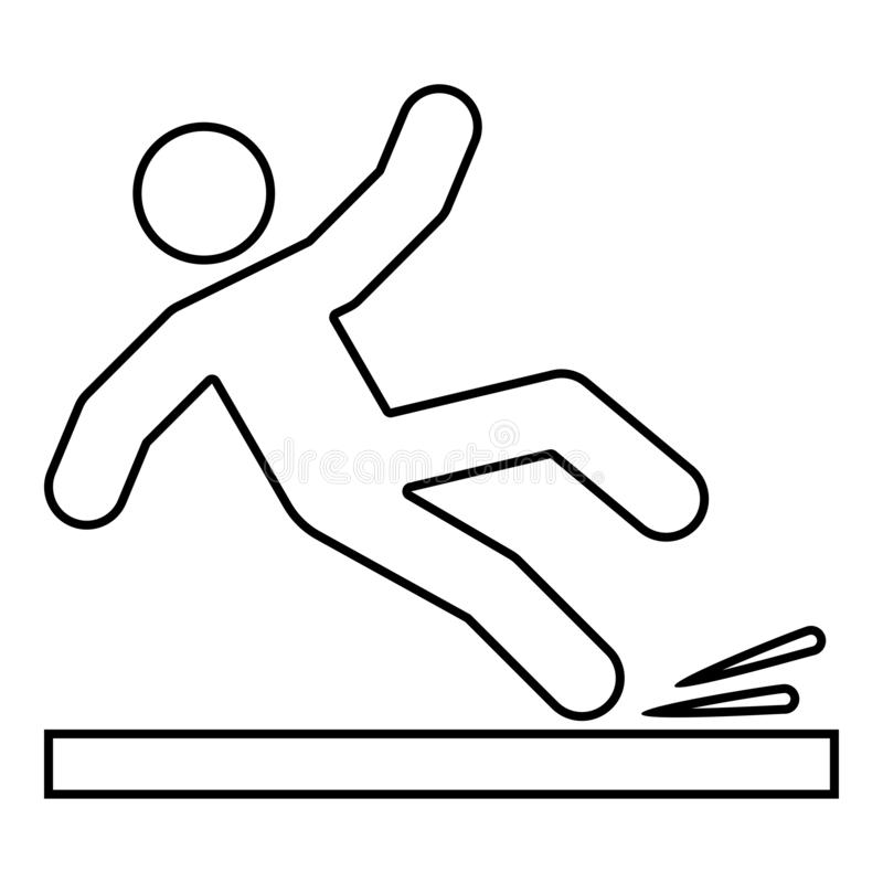 Falling man icon black color illustration outline. Falling man icon black color vector illustration flat style simple image outline royalty free illustration