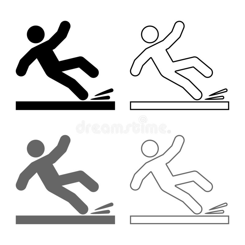 Falling man icon set grey black color illustration outline flat style simple image. Falling man icon set grey black color vector illustration outline flat style vector illustration