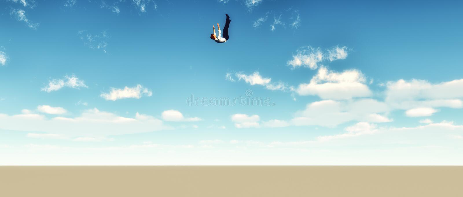 Falling man from sky. Crashing falling businessman in free fall from the blue sky vector illustration
