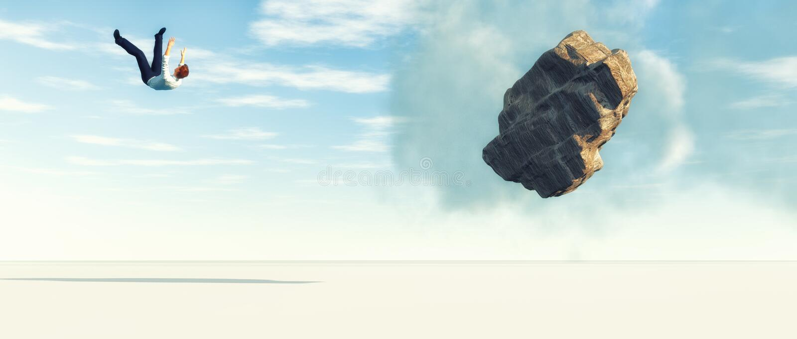 Falling man from sky. Crashing falling businessman in free fall from the blue sky stock illustration