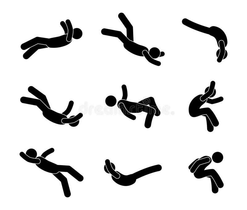 Falling man, stick figure human silhouette, illustration of a drop from a height, a set of pictograms people. In different poses royalty free illustration