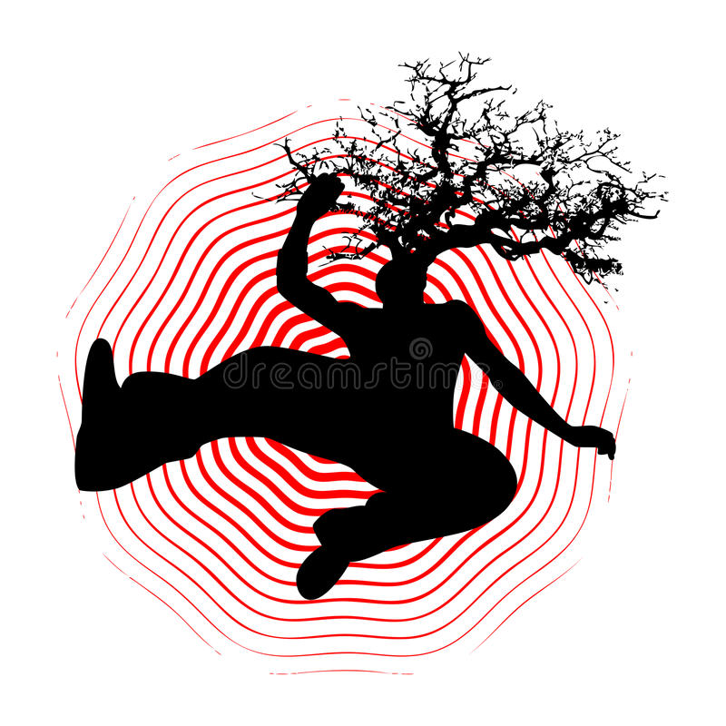 Falling man with tree in head. Illustration of man falling with tree growing from his head royalty free illustration