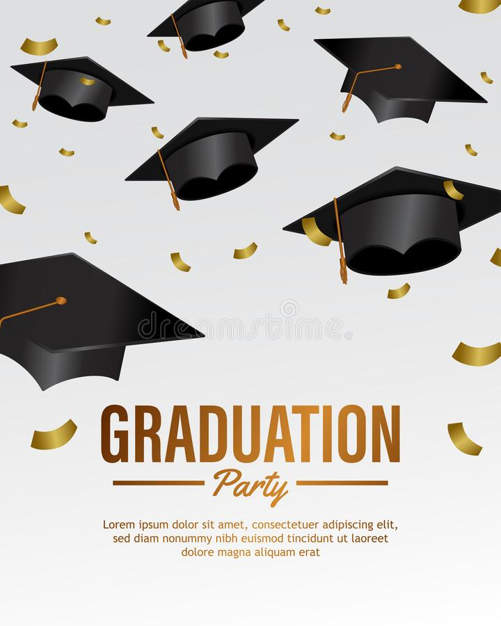 Falling many hat graduation party celebration invitation template with confetti royalty free illustration