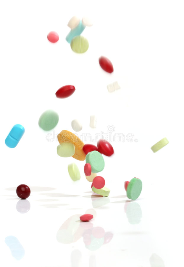Free Falling Medicine Pills Stock Photography - 8436942