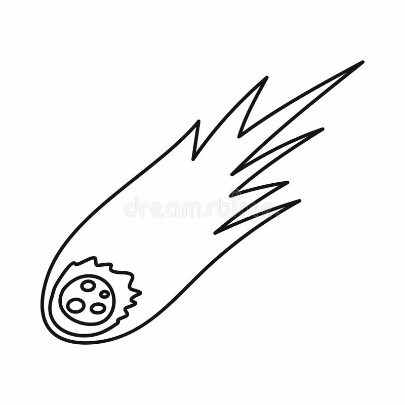 Falling meteor with long tail icon, outline style vector illustration
