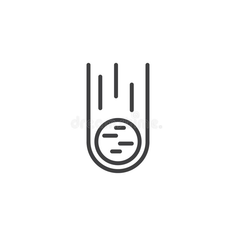 Falling Meteorite outline icon royalty free illustration