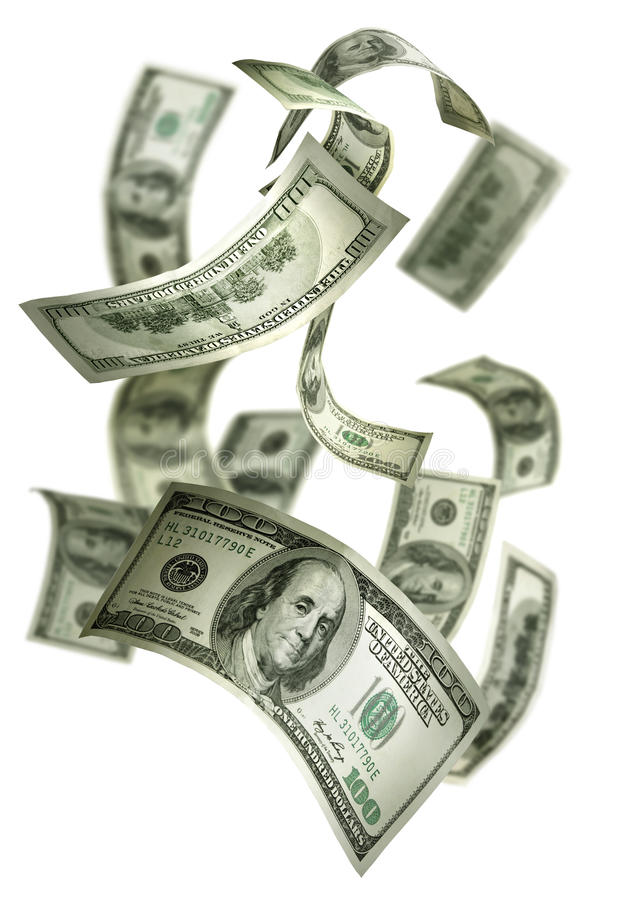 Falling Money $100 Bills Royalty Free Stock Photos