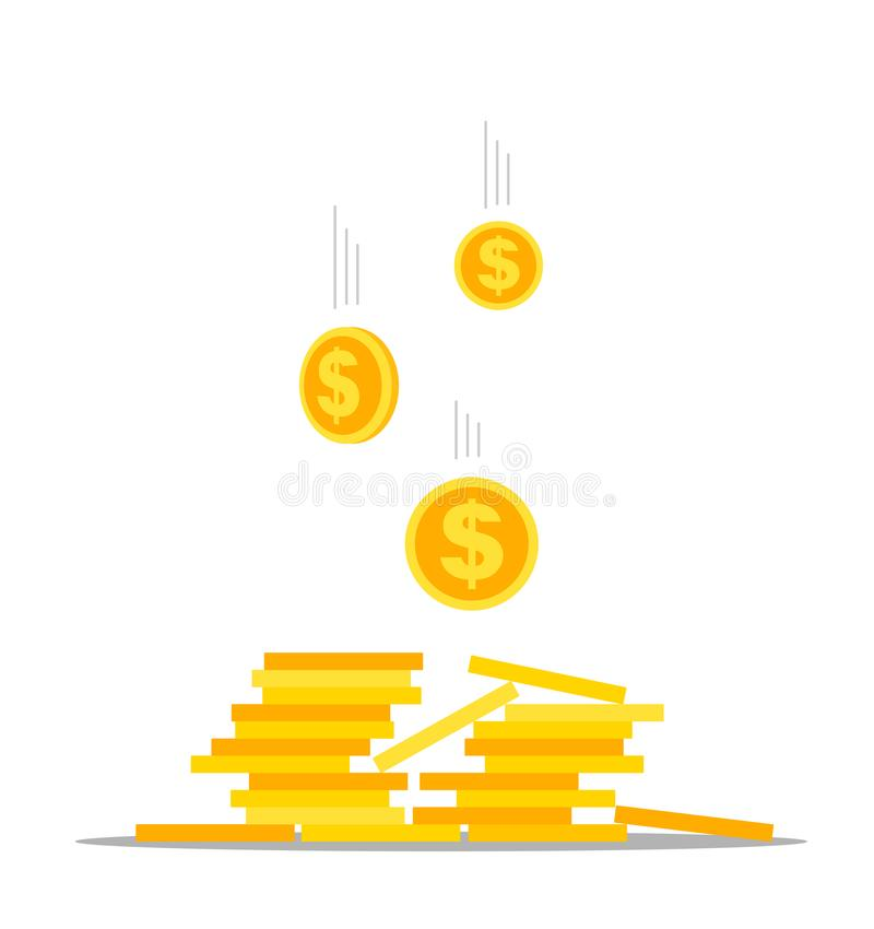 Falling dollar cents in a stack of coins. Vector illustration on white background. royalty free illustration
