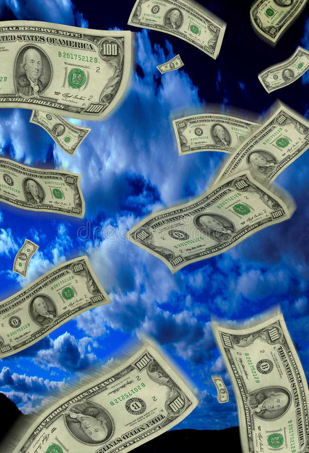 Falling Money. Money falling from the sky