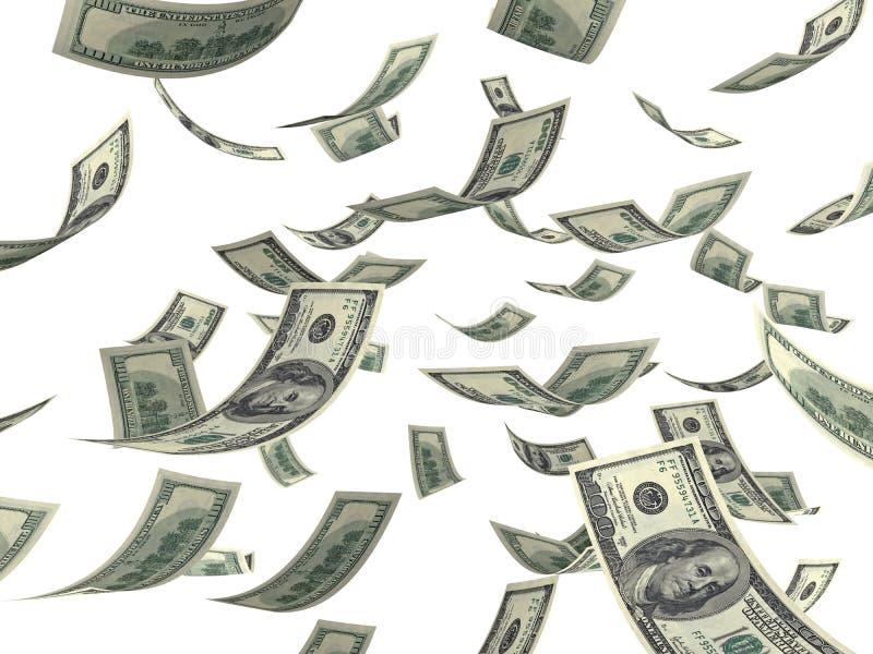 Falling money. Falling hundred Dollar bills on white. 3D generated image