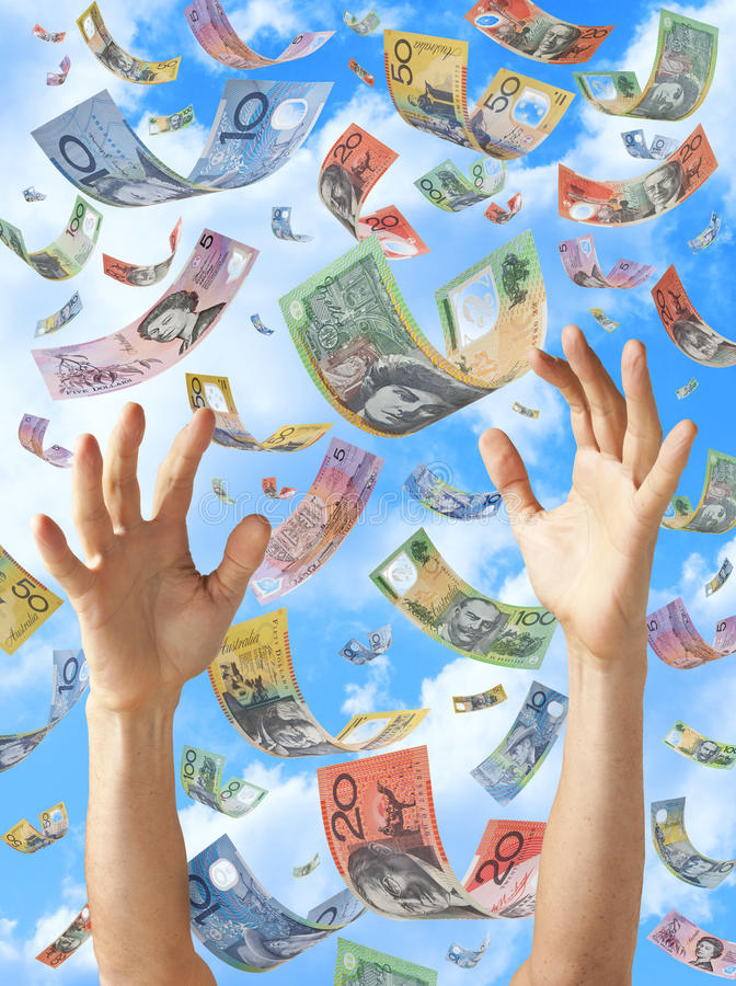 Free Falling Money Australian Hands Sky Stock Photography - 25136592