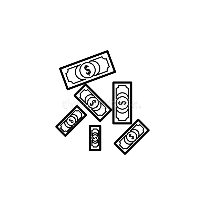 falling money bills icon. Element of casino for mobile concept and web apps. Thin line icon for website design and development, a royalty free illustration