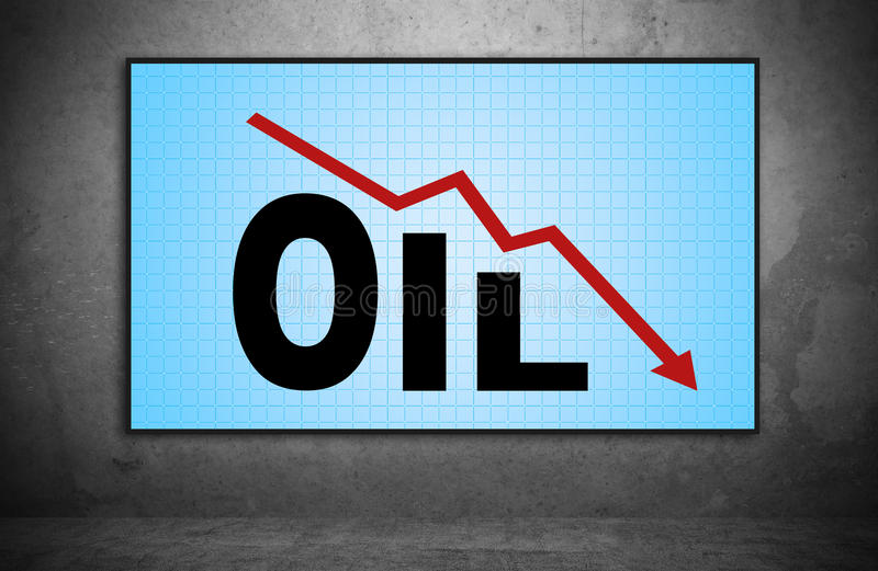 Falling oil chart stock photo