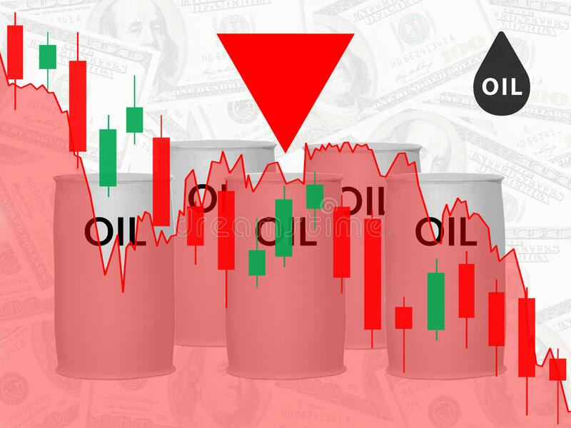 Falling oil prices in the stock market. Financial crisis. Concept royalty free stock images