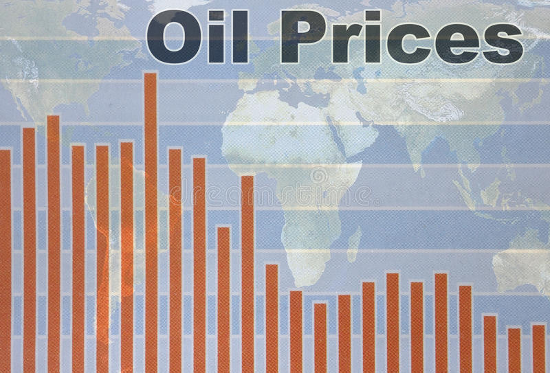 Falling oil prices. World map and Oil Prices chart going down royalty free stock photography