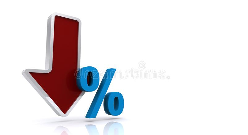 Falling percentage. Large red and silver 3D arrow pointing downwards with a blue 3D percentage sign (%) alongside, white background vector illustration