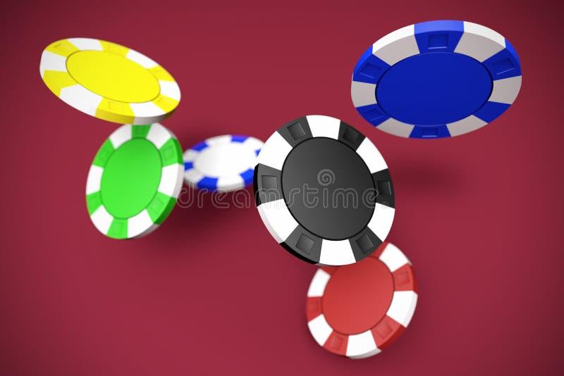 Falling poker chips royalty free illustration