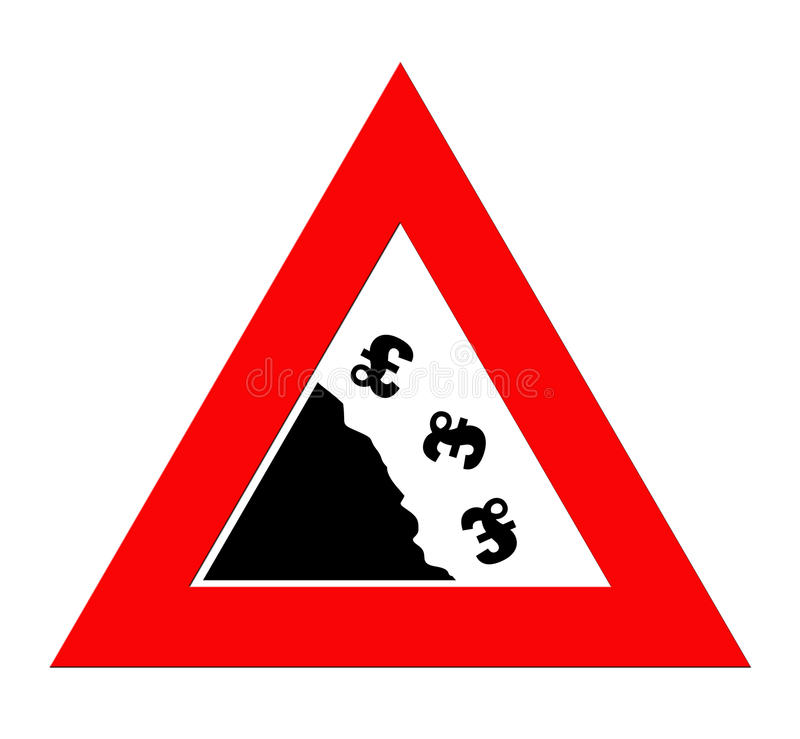 Falling Pound currency. British pound currency signs falling off cliff in warning roadsign triangle, isolated on white background