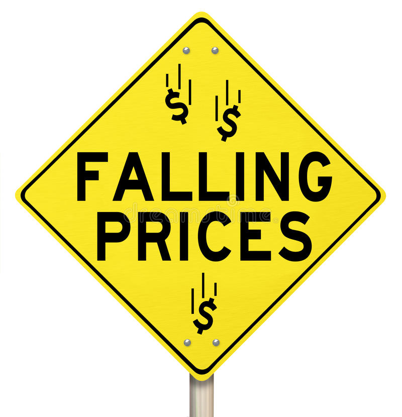 Falling Prices Reduced Slashing Costs Special Sale Discount stock illustration