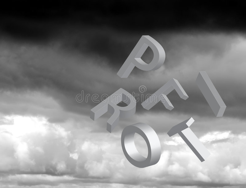 Falling profits. Tumbling letters spelling profit over storm clouds stock images