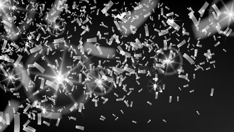 Falling Rain Of Brilliant Silver Confetti stock illustration