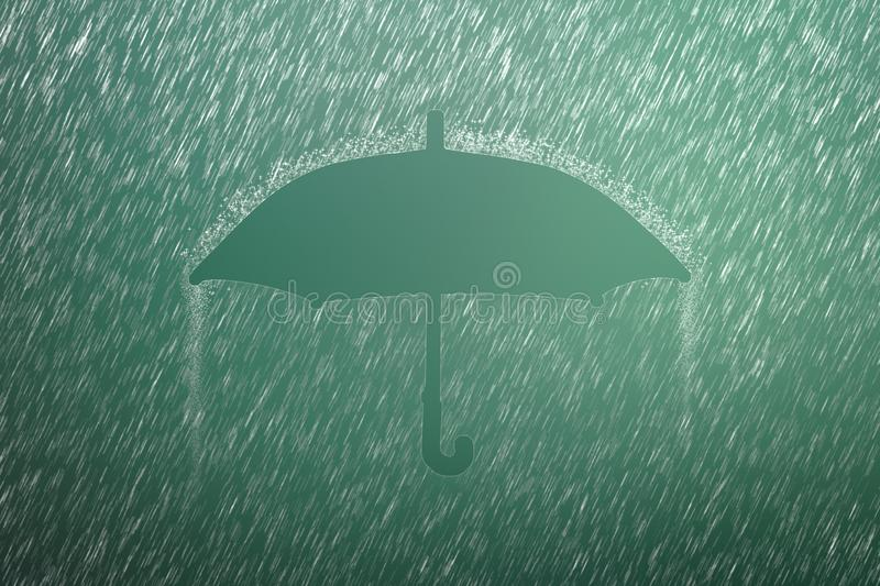 Falling raindrop on green background with Umbrella shape. Heavy rain and weather storm in raining season. Unbrella stock photo