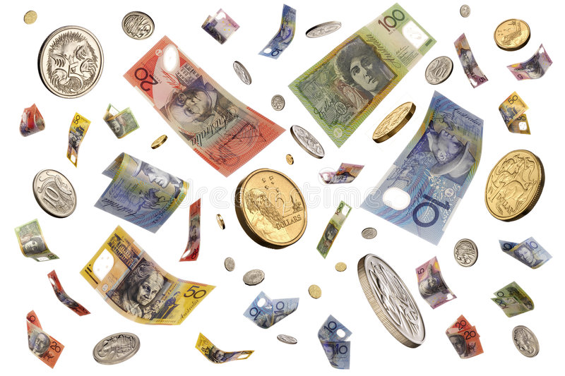 Falling Raining Australian Money. Australian money notes and coins falling through the air royalty free stock images