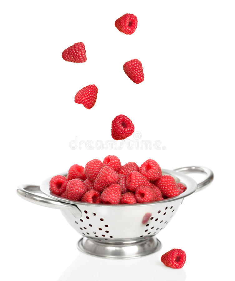 Falling Raspberries stock image