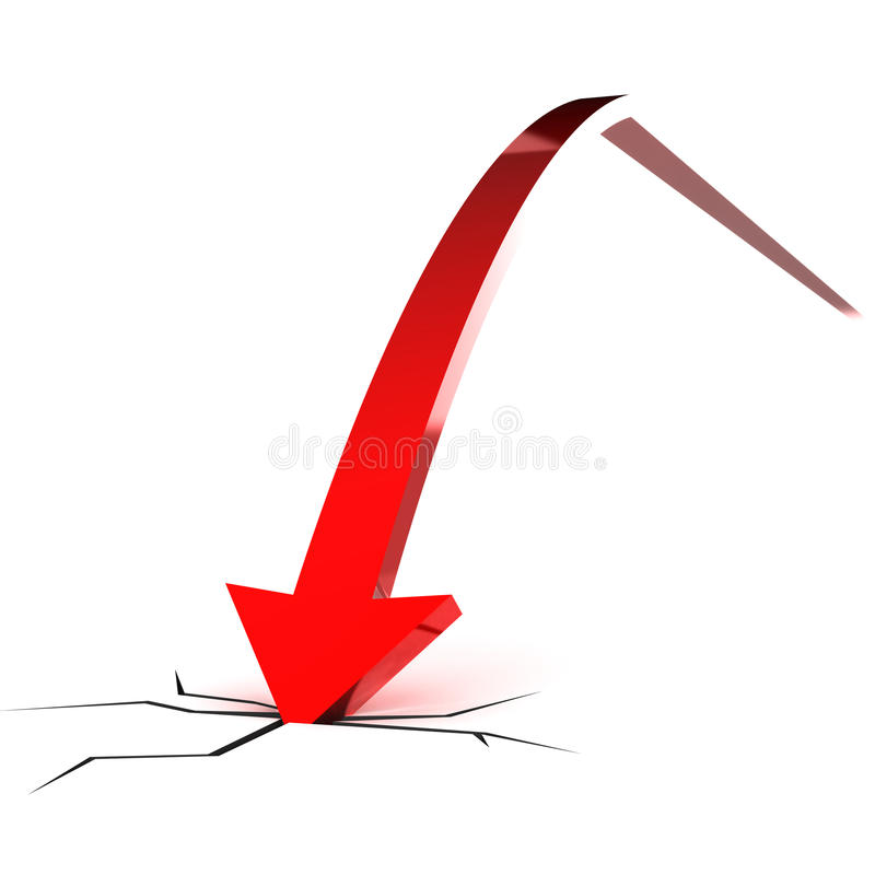 Falling Red Arrow Stock Images