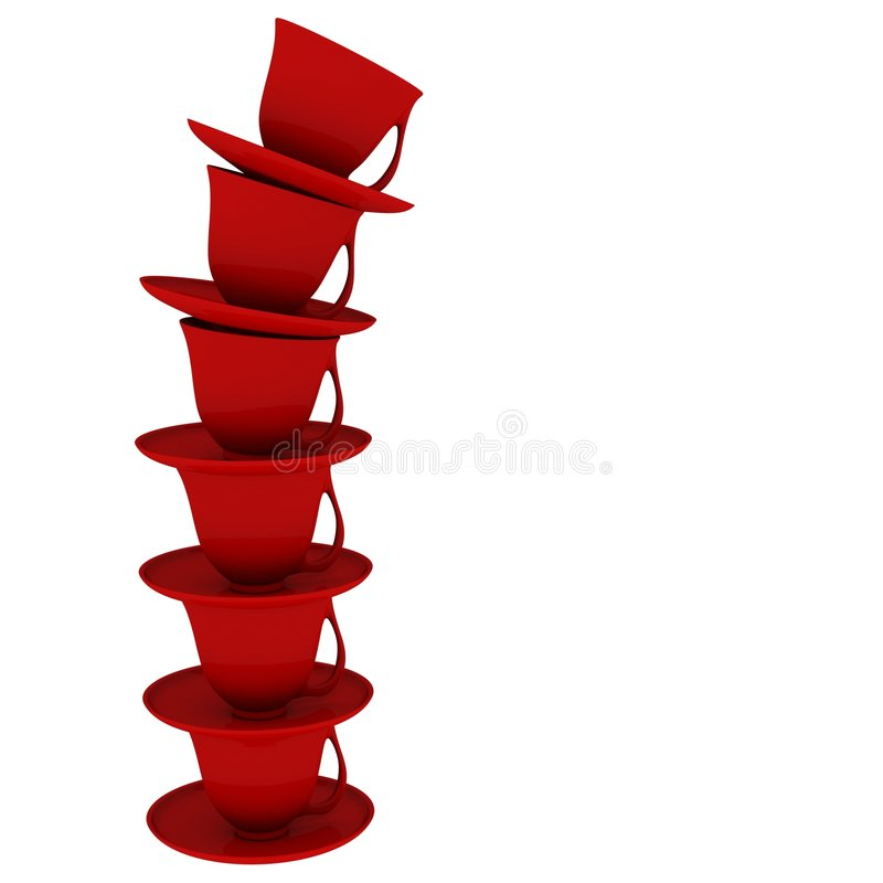 Falling Red Cup Stack Isolated. 3d created stack of cups and saucers in isolation stock illustration