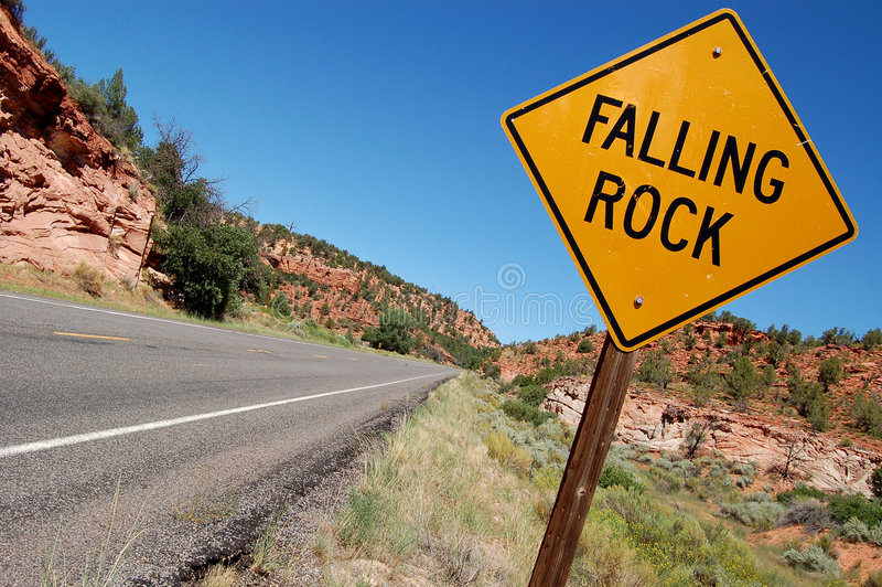 Download Falling Rock Sign stock image. Image of blue, sign, landscape - 6479551